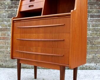 SOLD: Stunning Mid Century Danish Teak Writing Desk Bureau Retro Vintage Tibergaard 50s 60s 70s