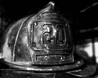FIRE HELMET Black and White Firefighting Art Photograph INSTANT Download Digital Printable Firefighter Art Photograph
