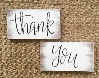 Thank You - Wood Sign | Custom Wood Sign | Wedding Sign | Wedding Decor | Rustic Wedding Sign | Rustic Wedding | Hand Painted Signs