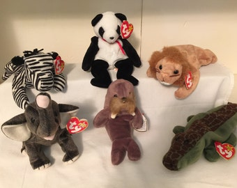 ty Beanie original Babies Zoo Animals