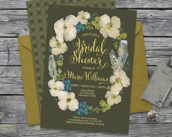 Bridal shower boho floral wreath watercolor invitation. Peonies, flowers, bohemian, olive, mustard, feathers. Customised by me. 097CMP