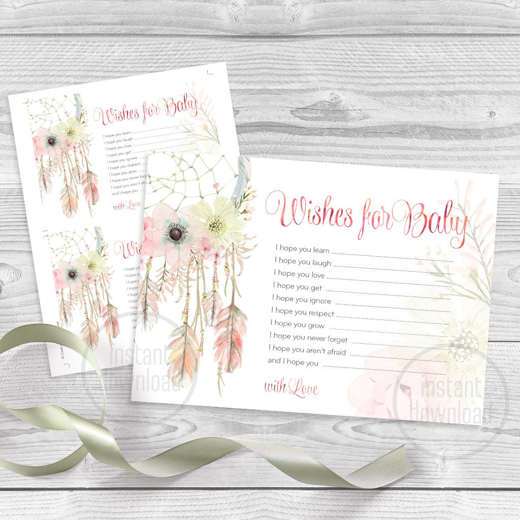 dreamcatcher baby shower card wishes for baby watercolor