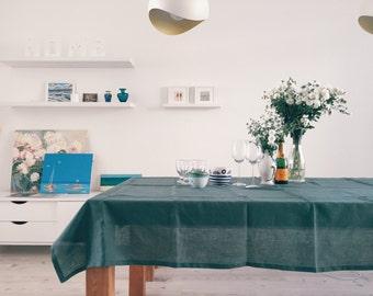 Emerald. Linen Tablecloth. Dark Green, 57''x 81'' (145 x 205 cm)