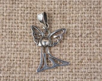 925 Sterling Silver Angel Heart Pendant
