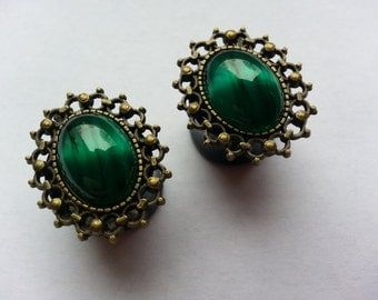 Vintage green plugs oval bronze