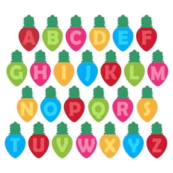 Christmas Bulbs Lights Cuttable Monogram Font SVG By