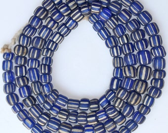 Striped Glass Pony Beads - approx. 6mm x 4mm - Various Colors - 25 Inch Strand