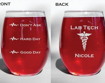 Deep Engraved Dishwasher Safe Laboratory Technician - Lab Tech Wine Glass, Mug, Pilsner Glass, Whiskey Glass, Beer Mug, Mason Jar Mug