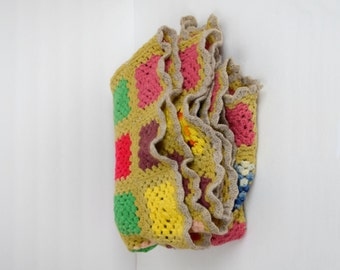 Vintage multicolored granny squares afghan / small brown knit throw / cozy retro blanket