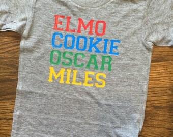 Sesame street tshirt, elmo shirt, boys custom shirt, personalized, elmo birthday shirt, short sleeve shirt