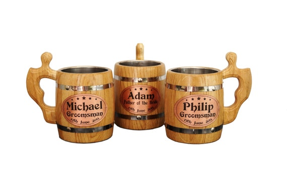 Personalized Beer Mugs Wedding Gift : Gift Wooden Beer Mug, Set of 3, Personalized Gift, Wedding Gift ...