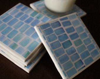 RESERVED LISTING for Kelly ~ Blue Watercolor Coasters, Blue and Green Coasters, Watercolor Coasters, Set of 6 Coasters