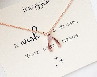 Rose Gold Wishbone Necklace, rosegold, wishbone necklace, tiny wishbone necklace, Mother's Day gift, collarbone necklace, small wishbone