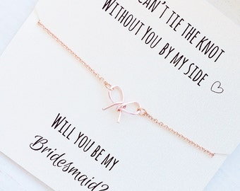 FREE SHIPPING, Will you be my bridesmaid, rose gold tie the knot necklace, rose gold bow necklace, tiny bow necklace, bridesmaid proposal