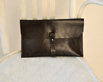 Black Leather Clutch, Leather Handbag, Simple Black Bag