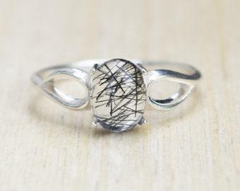 Quartz Ring, Tourmalinated Ring, Black Tourmalinated Ring, Black Ring, Unique Ring