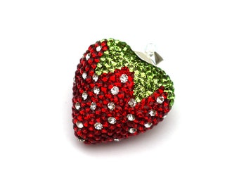Strawberry heart charm 925 Silver