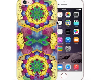 Clear Phone case for iPhone 4 4s 5 5s SE 6 6s 6 plus 6s plus TULLUN Designs Floral Lotus Mandala Design TD085