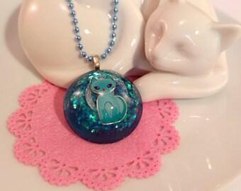 Blue Kitty Glitter Resin Pendant