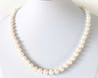 AAA Classic Real Freshwater Pearl Necklace With Silver Clasp - Handmade to Order - Custom Length - AA Grade - Gift for Her - June Birthstone