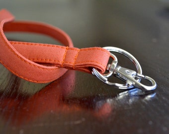 Custom Personalized Lanyard - Burnt Orange, Six Font Choices - Perfect Athlete, Coach, Teacher Gift