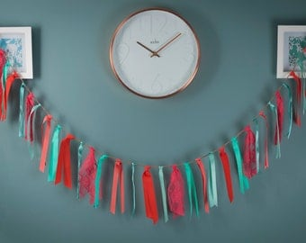 Coral and Mint Green, Ribbon & Lace Bunting
