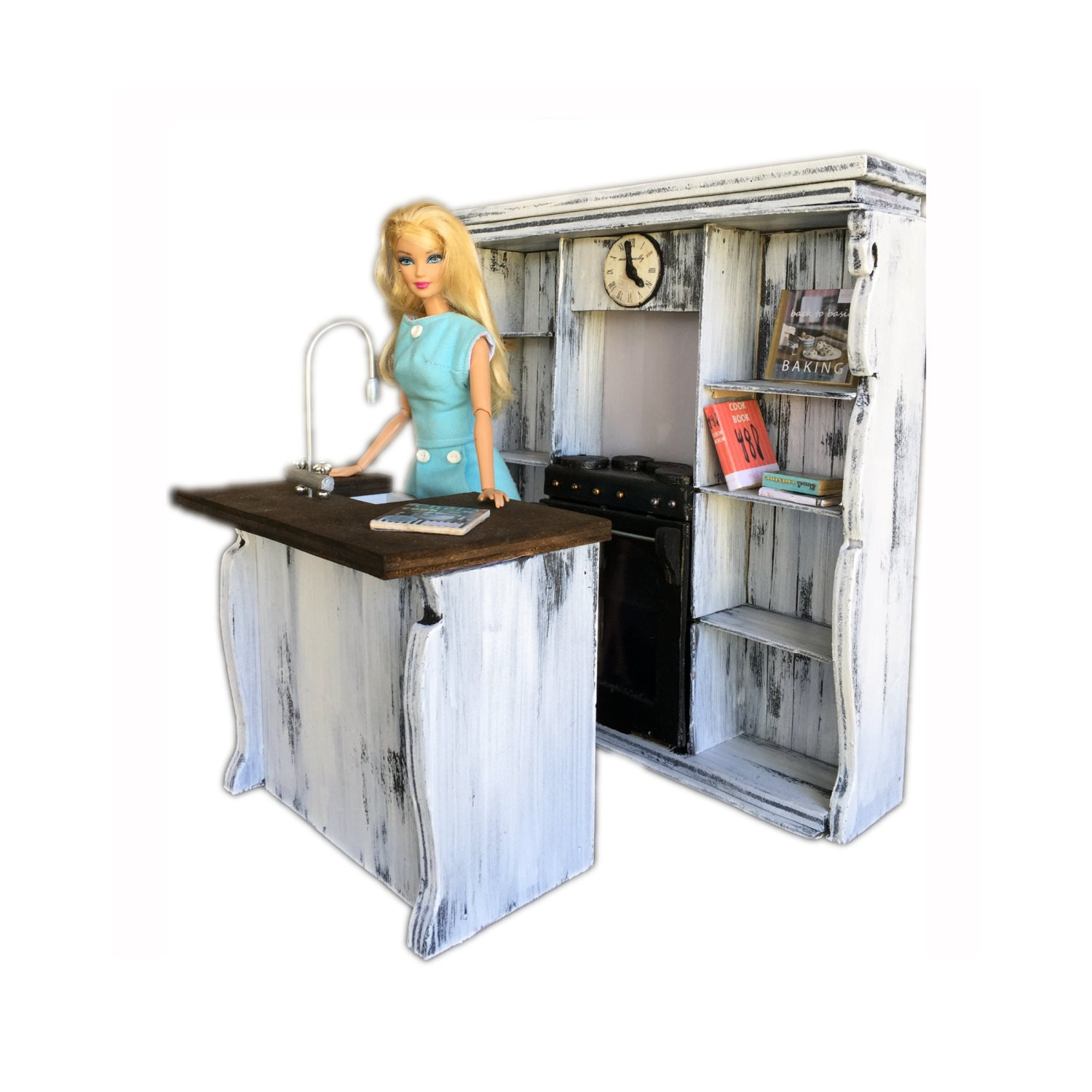 minimolly dollhouse furniture barbie size kitchen set french provincial style oven sink shelves cookbooks 16 scale