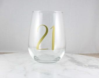 PERSONALISED Birthday gift, 21st birthday, 30th birthday, Age birthday, Stemless Wine Glass