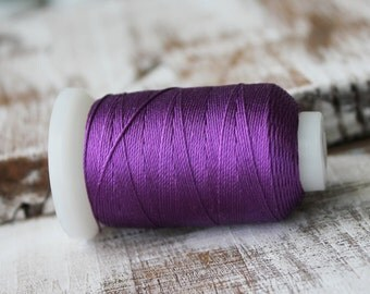 Plum Purple Silk, Dark Purple Silk, Silk Thread, Thin Silk, Silk on spool, Pure Silk Thread, 180M, 04S9