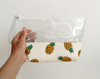 Clear Pineapple Makeup Bag ,gift for her, women,teen,Cosmetic Bags,vinyl bag,Toiletry Storage,pencil bag,pencil case