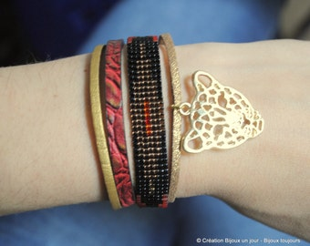 Cuff Bracelet leather and beads Miyuki red/Golden