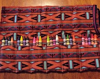 Southwestern Print Crayon Roll 24 Crayola Crayons