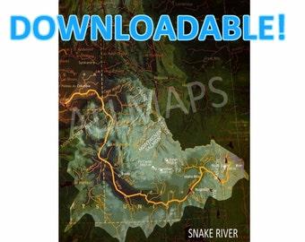 Snake River, PRINTABLE Vintage Old map, Downloadable Print,Map Wall Art, Printable Art, Man cave Decor, Printable
