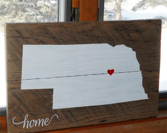 Custom State Wood Sign • Home State Sign • State Pride Sign • Repurposed state sign • Nebraska Wood Sign • Est. state sign • States sign