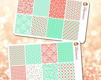 Set of 16 Coral & Aqua Theme Full Box Planner Stickers