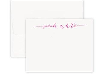 calligraphy stationery, Custom notes, notecards, modern monogram,  stationery set, foldover, personalized note cards, graduation gift
