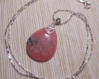 Beautiful necklace in Sterling silver and RHODOCHROSITE