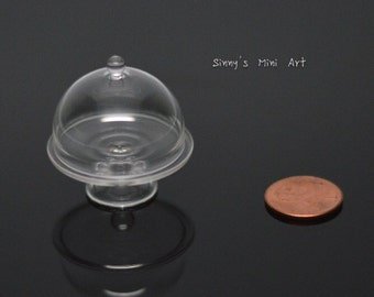1:12 Miniature Glass Cake Plate with Round Top/ dollhouse miniature cake stand BD HB201