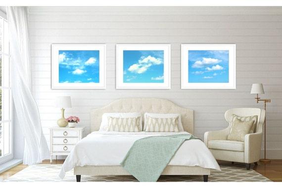 Beach Wall Decor Set of 3 Prints, Sky Photograph, Beach Decor, White Clouds, Print Set, Beach Bathroom Decor, Blue, White, Art Set of 3.
