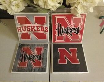 Nebraska Huskers coaster set