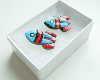 tiny rockets for your cuffs // blue and red cufflinks