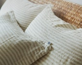 Linen pillow sham. Linen sham. Linen cover. Bed linen sham. Stone washed linen sham pillow case. Striped linen bedding. Soft pillow sham.