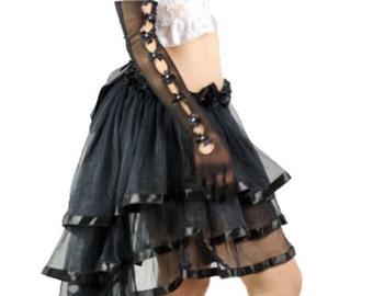 Black Burlesque Steampunk Bustle Victorian Style Long bustle skirt. US 2 4 6 8 10 UK 6 8 10 12 14