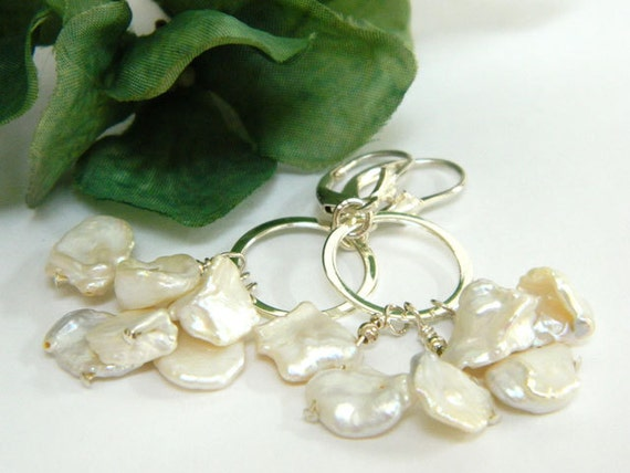 Pearl Earrings, White Earrings, Handmade Earrings, Silver Earrings, Handcrafted Jewelry, Artisan Made, Pearl Jewelry, Short Earrings