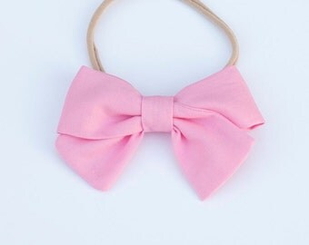 Baby Girl, Toddler, Girls Fabric Bow Headband or Clip - Carnation Pink