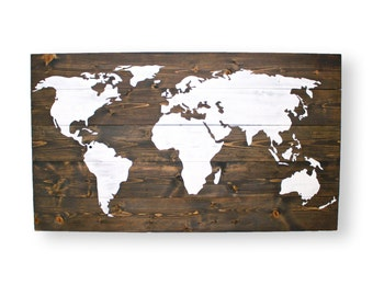 Large World Map- Nursery Wall Art- Travel Nursery Decor- Rustic World Map- Travel Map Push Pin- Travel Wall Decor- Rustic Home Decor