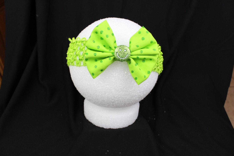 lime green smiley face headband