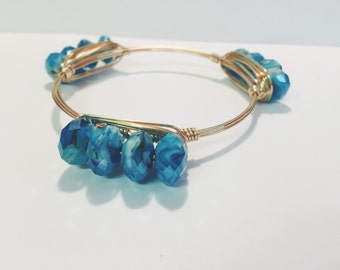 Bangle Bracelet, Jewels from the Sea on gold wire