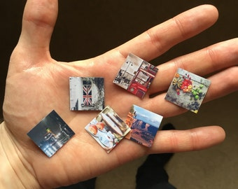 Set of 9 tiny customised square photo fridge magnets made from your own pictures (2.5x2.5cm)