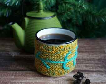 Handmade knitted cup cozy